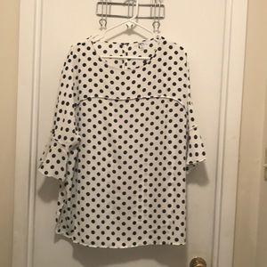 Bar III navy and white polka dot top